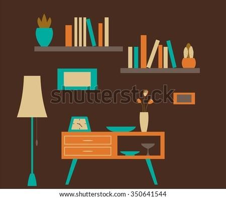 Home furniture. Interior design.  - stock vector