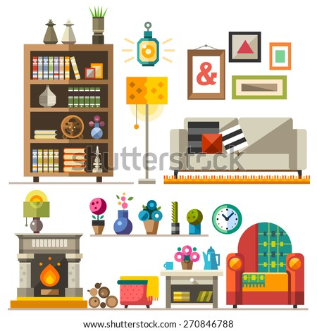 Home furniture. Interior design. Set of elements: wardrobe,bookcase, sofa, fireplace, clock, lamp, flowers, pictures. Decorating zone of rest and sleep. Vector flat  illustrations  - stock vector