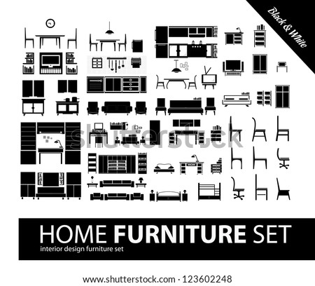Home furniture set 9 - stock vector