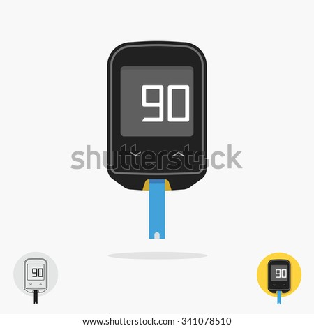 Home glucometer diabetes flat style pharmacy concept, medical measuring portable technology analysis hypoglycemic glycemia, tool isolated on white background trend modern design vector illustration. - stock vector