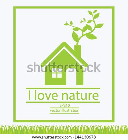 Home. Go green. Save world. vector illustration. - stock vector