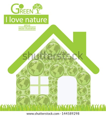 Home. Go green. Save world. vector illustration.