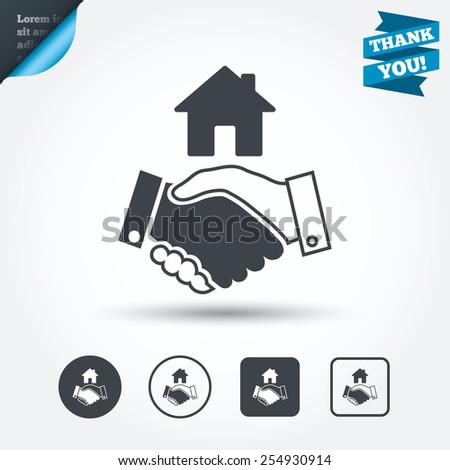 Home handshake sign icon. Successful business with house building symbol. Circle and square buttons. Flat design set. Thank you ribbon. Vector - stock vector