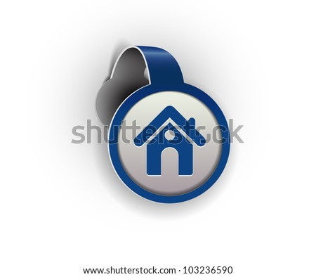 home hanging sticker icon, vector - stock vector