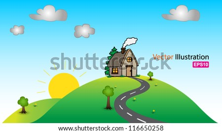 Home hill - stock vector