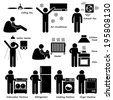 Home House Basic Electronic Appliances Stick Figure Pictogram Icon Cliparts - stock photo