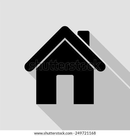 home icon - black illustration with long shadow - stock vector