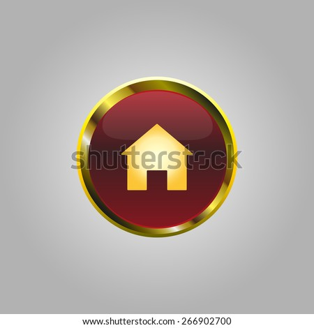 home icon button for a site with gold stroke - stock vector