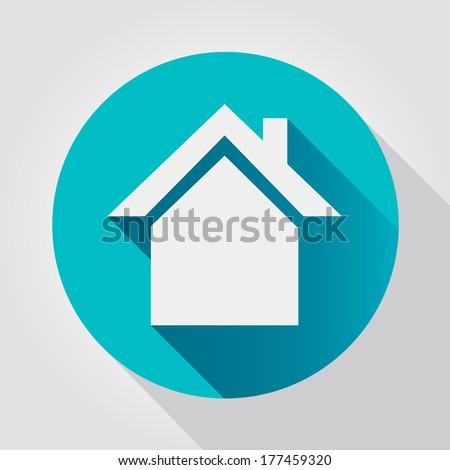 Home icon, flat design - stock vector