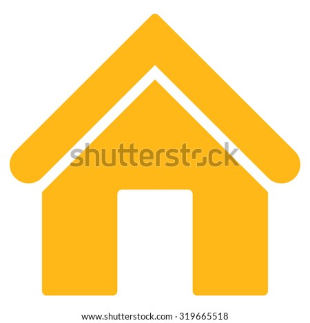 Home icon from Primitive Set. This isolated flat symbol is drawn with yellow color on a white background, angles are rounded. - stock vector