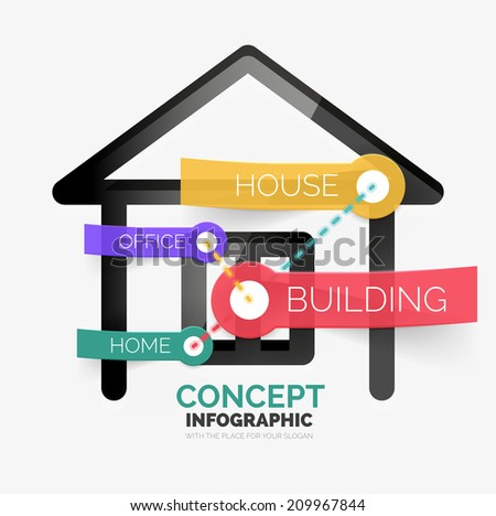 Home icon infographic concept, line style. Modern flat paper design with tags or your options on transparent stickers - stock vector