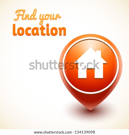 Home Icon Pin. Vector illustration isolated. Find your location - stock vector