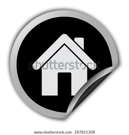 home icon - round vector sticker - stock vector