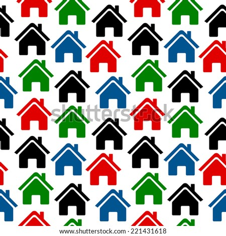 Home icon seamless pattern on white background. Vector illustration.