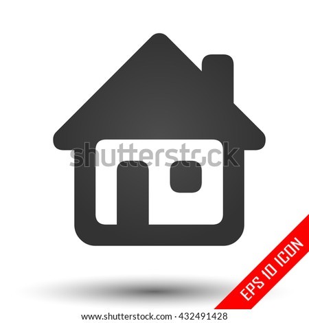 Home icon. Simple flat logo of home on white background. House picture. Vector illustration. - stock vector