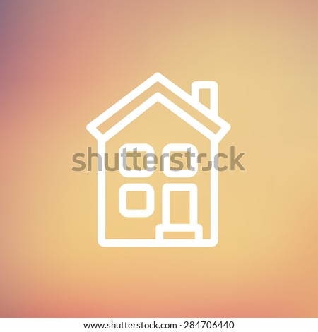 Home icon thin line for web and mobile, modern minimalistic flat design. Vector white icon on gradient mesh background. - stock vector