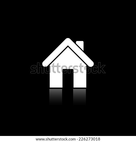 Home icon - vector illustration with reflection isolated on black - stock vector