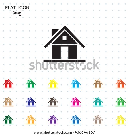 Home icon with shadow on a grey background