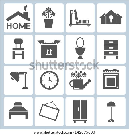 Home Icons Furniture Interior Design Icon Stock Vector (Royalty Free ...