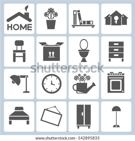 Home Icons Furniture Interior Design Icon Set Decoration