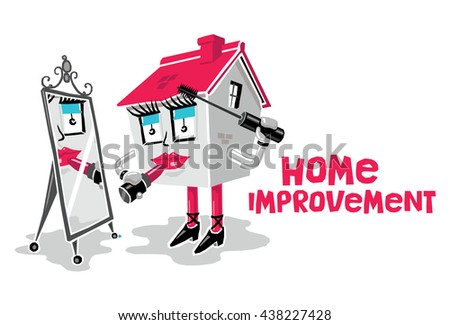 Home Improvement Concept: Cartoon House Applying Makeup (Lipstick and Mascara) While Looking in a Mirror. White Background with 'Home Improvement' Text. - stock vector