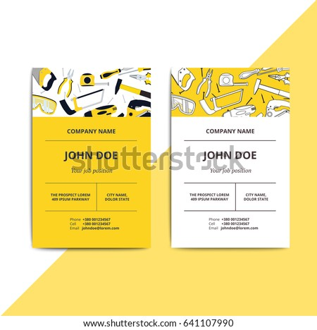 Home improvement corporate business card repair stock vector home improvement corporate business card with repair tools house construction id template renovation background reheart Image collections