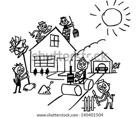 Home Improvement - Retro Clip Art Illustration - stock vector