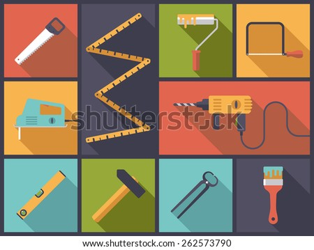 Home improvement tools Flat Icons Vector Illustration. Flat design illustration with various icons related to home improvement and crafts. - stock vector