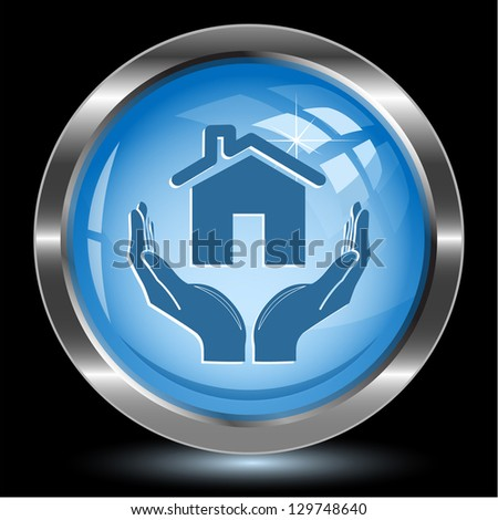 home in hands. Internet button. Vector illustration. - stock vector