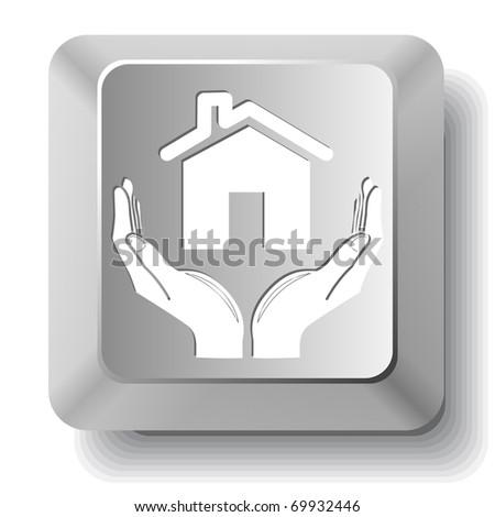 home in hands. Vector computer key. - stock vector