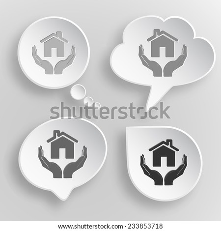 home in hands. White flat vector buttons on gray background. - stock vector