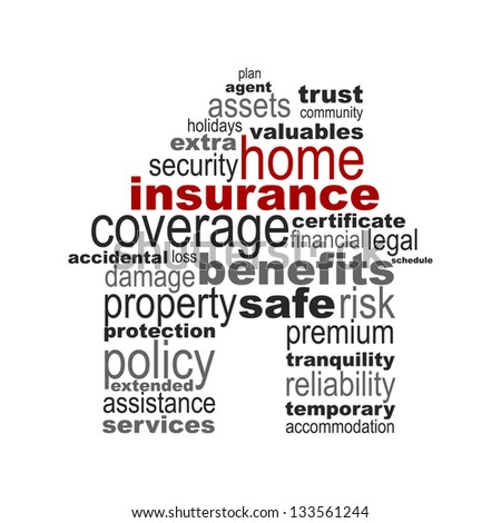 Home insurance concept made with words drawing an house - easy colors change - stock vector