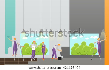 Home interior and room repair vector banner. Workers make renovation in apartment. Building under construction - stock vector