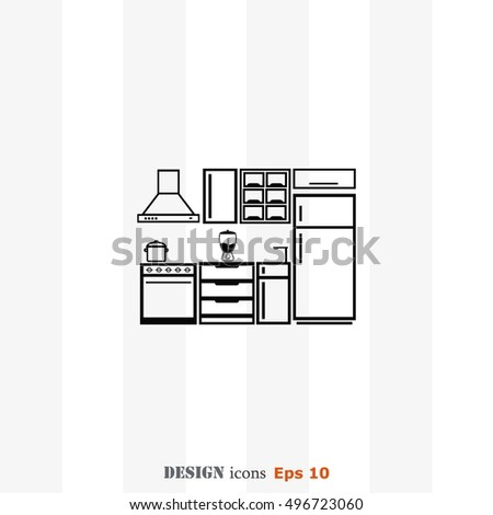 icon kitchen vector stock vector 132280163 - shutterstock
