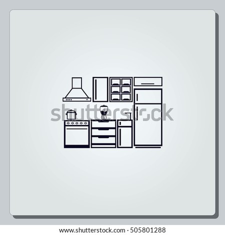 Home Interior Design Icon, Kitchen Icon, Dining Icon, Vector Illustration.  Flat Design Part 69