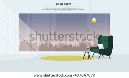 Home Interior Design Furniture Modern Living Stock Vector