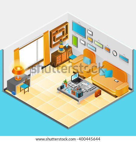 Home Interior Design With Sofa Table Armchair And Books Vector Illustration