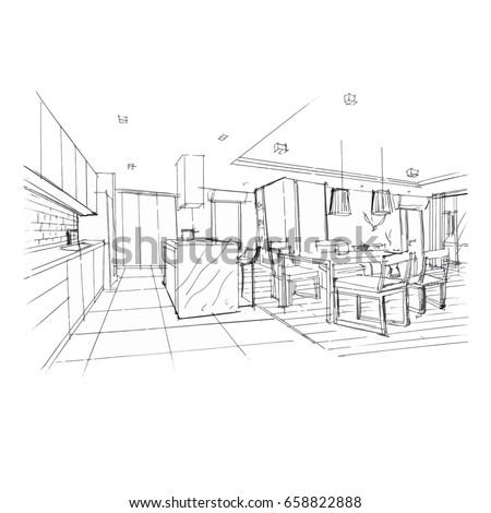 Living room sketch stock images royalty free images for Sofa design sketch