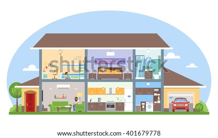 Home interior with room furniture vector illustration. Detailed modern house interior in flat style.  - stock vector