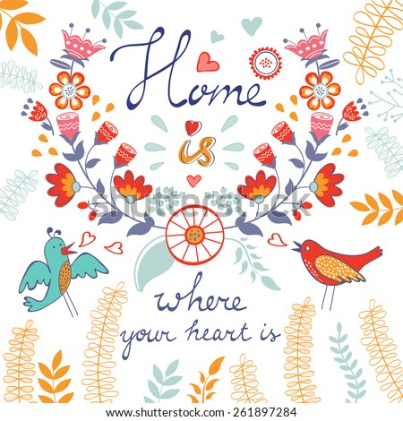 Home is where the heart is concept card. Vector illustration - stock vector