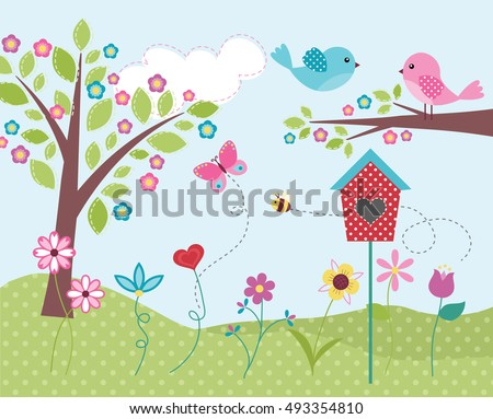 Home Is Where The Heart Is / Cute Birds with Birdhouse Flowers