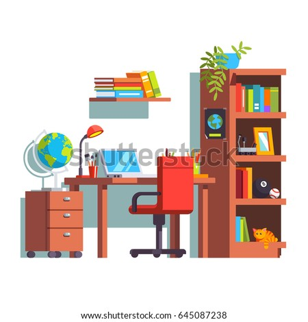 Home Kid Room Interior Design With Desk Chair Laptop And Wooden Book Case