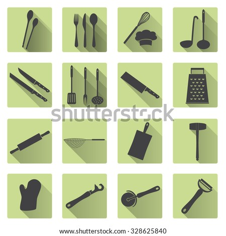 home kitchen cooking utensils flat shadow icons eps10 - stock vector