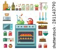 Home kitchenware, food and devices in color vector flat illustrations. Stove, oven with baking, refrigerator, condiments, jars of jam - stock vector