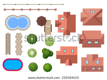 Home, landscape, property elements with variety of different roof shapes, two swimming pools, ornamental trees, shrubs and fencing for landscape design - stock vector