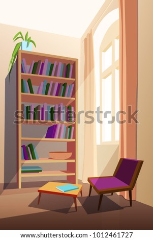 Home Library Interior Concept With Furniture Bookcase Chair And Table