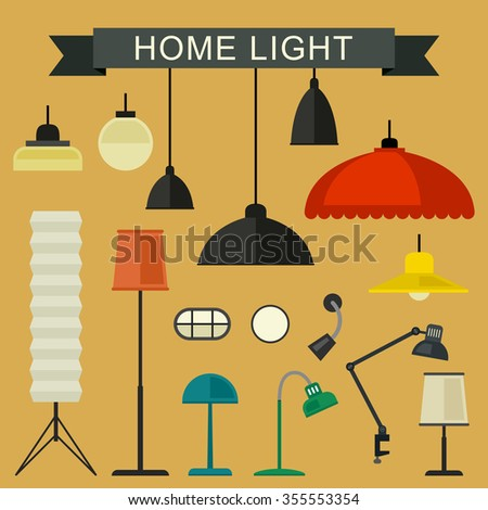 Home light with lamp icons in flat style. Simple vector illustration.