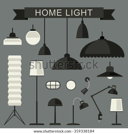 Home lighting with lamps in flat style. Simple vector illustration.