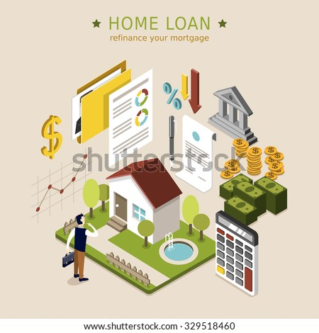 home loan concept in 3d isometric flat design - stock vector