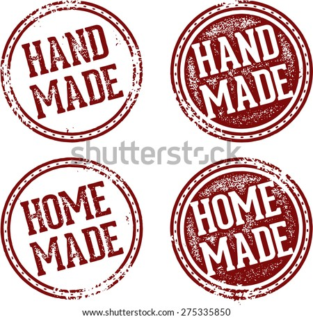 Home Made and Hand Made Product Stamps - stock vector